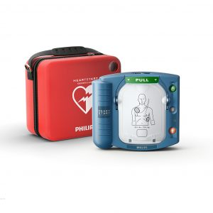 OnSite AED with red Carry Case behind