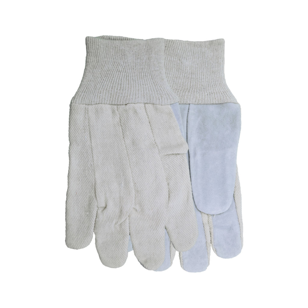leather face canvas back gloves